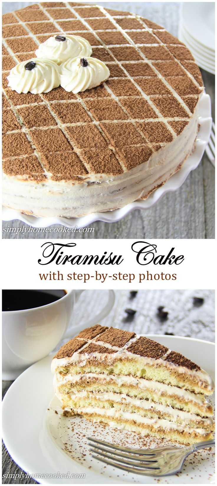 Moist sponge cake soaked in coffee liqueur and layered between a rich mascarpone based cream. This tiramisu cake is guaranteed to become a new favorite