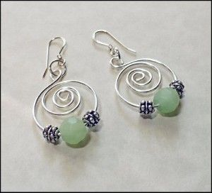 wire earring | Earrings,handmade,ooak,hoops,wire hand formed with minty green frosted ... Cute, need to get out pliers and play tomorrow