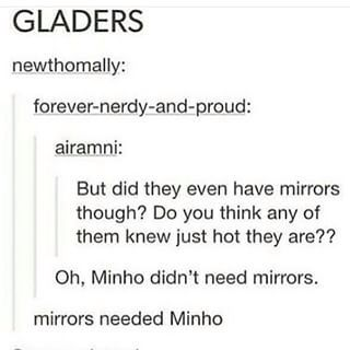 Naah mate,I think mirrors needes Newt :3 R.I.P mah sweet lil muffin,you were the best character and if this actually happens in the movie I'm gonna throw my chocolate at the screen and cry XD no joke,I actually will