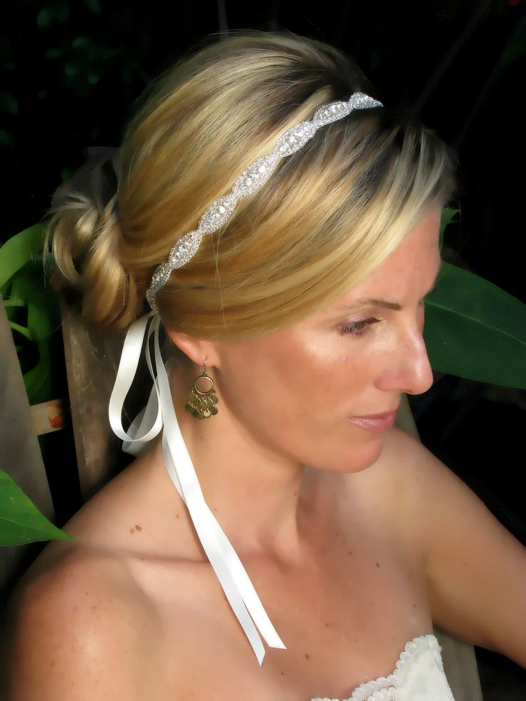 Caitline  Rhinestone bridal headband, wedding headband, wedding hair accessories, crystal headband. $42.00, via Etsy.