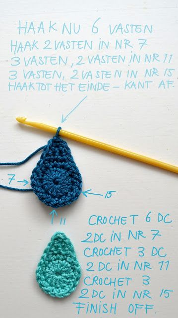 Crochet Rain Drops - another nice idea from ing-things blog! Very nice for free-form crochet.