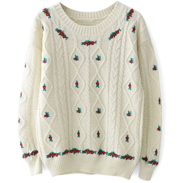 Chicwish Floral Embroidered Cable Knit Sweater in Ivory (315 CNY) ❤ liked on P…