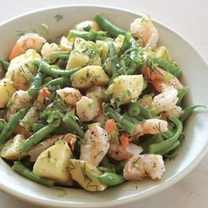 Shrimp Salad with Potatoes and Green Beans: Fresh dill, green onions, lemon, mustard and fruity extra-virgin olive oil are the vivid seasonings of this main course salad. When steaming the green beans, take care not to overcook them so they will retain their fresh green color.
