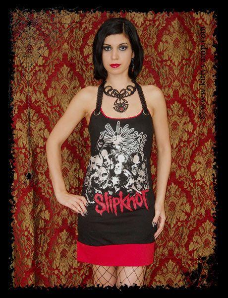 Slipknot dress Silver Group Metal Halter Mini Dress by kittyvampdesigns