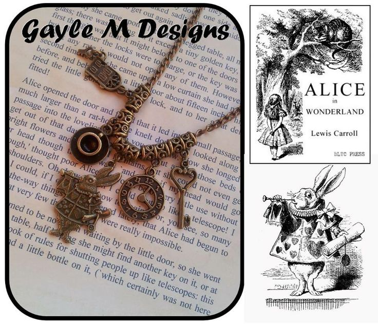 Handmade by: Gayle M Designs Title: We're All Mad Here Description: Is there anyone who doesn't love Alice in Wonderland? - particularly the White Rabbit. These highly detailed bronze tone charms (the rabbit based on the original drawings) are shown on a ball chain, but it is also available with plain chain or on a leather thong. Length is your choice of 40-60 cm (leather 45cm only plus extension chain).
