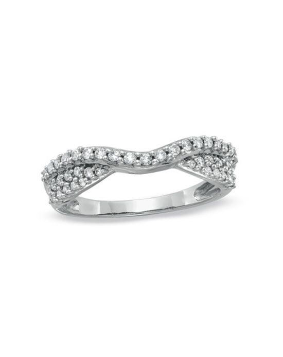 Zales 3 8 Ct T W Diamond Pavé Double Twist Contour Band In 14k White Wedding Bandscurved Bandwomen S