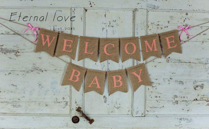 Добро пожаловать Малыш Баннер, Розовый Baby Shower Баннер, Добро Пожаловать Знак Baby, Baby Shower Декор