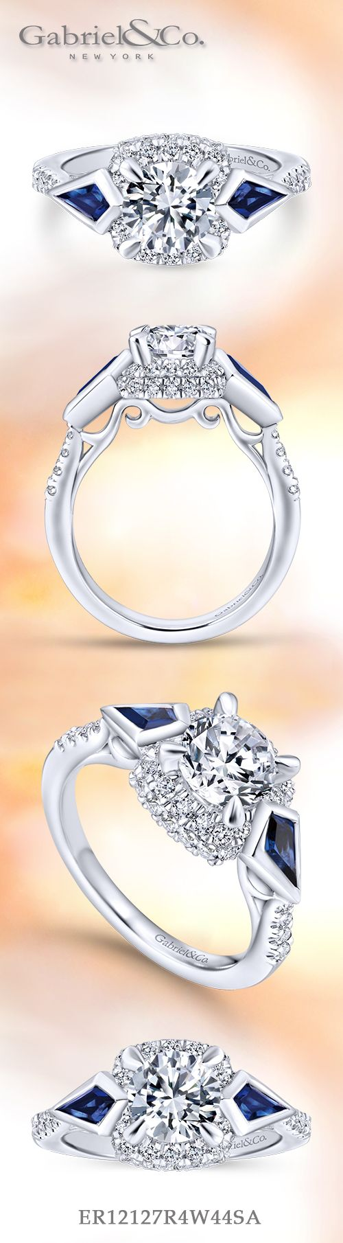 Gabriel & Co. - Voted #1 Most Preferred Bridal Brand.    Dazzle her with this three stone engagement ring featuring angular sapphires on either side.