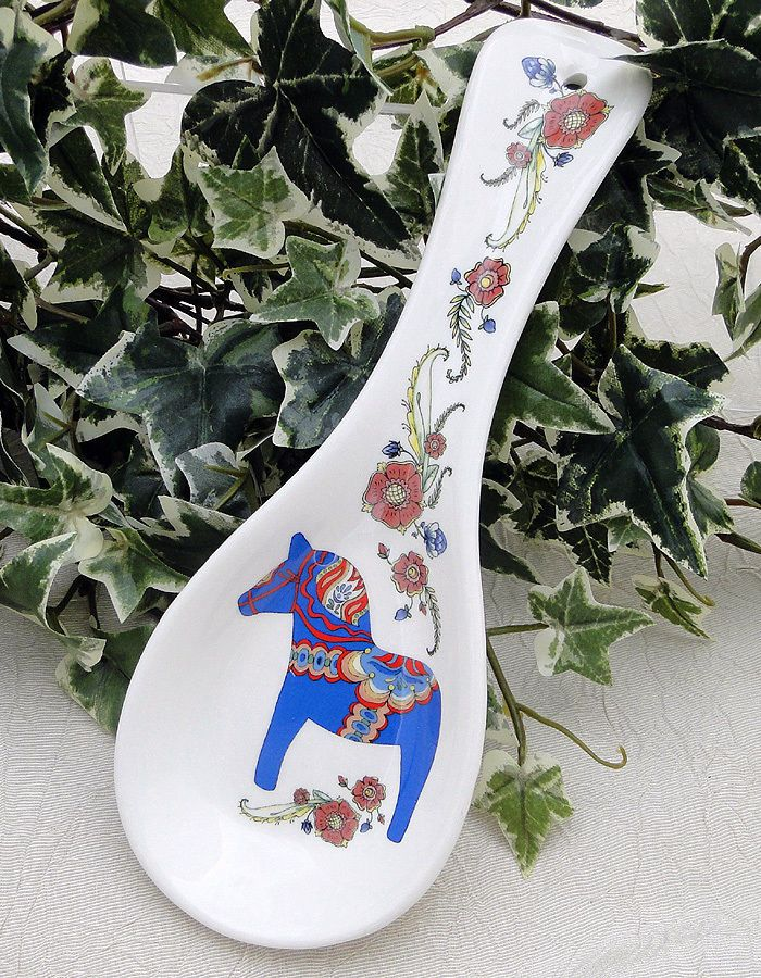 Scandinavian Kitchen Spoon Rest_Blue Dala Horse n Kurbits_Sweden_Swedish
