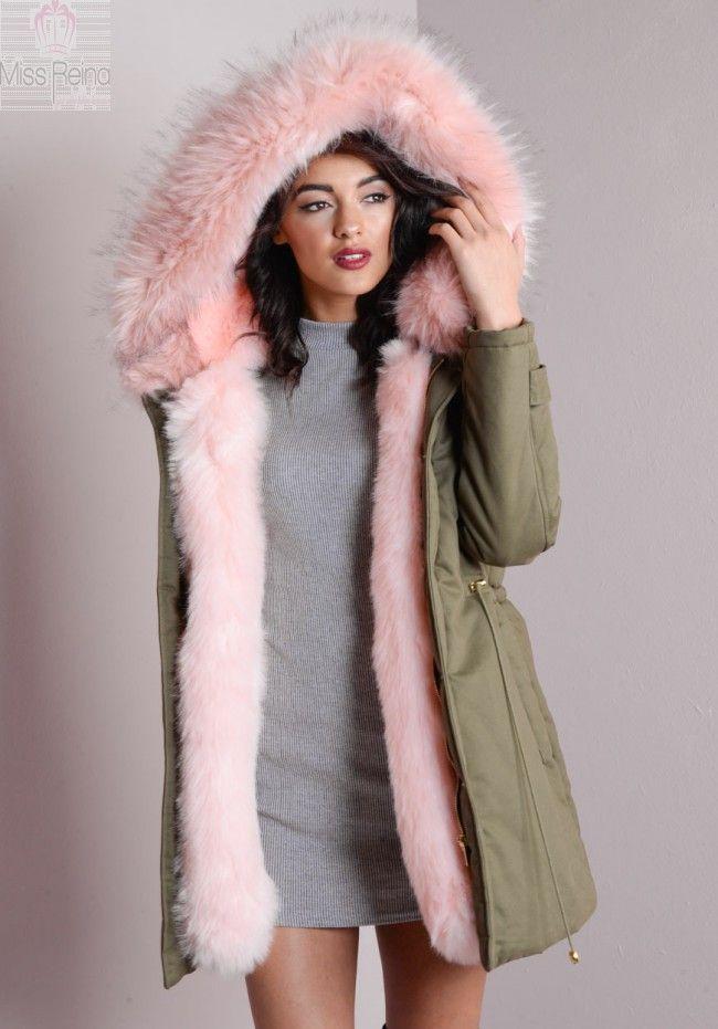 Μακρύ Παρκα με Ροζ faux γουνινη επενδυση και κουκουλα   ΔΩΡΟ ΕΝΑ ΜΑΥΡΟ ΠΛΕΚΤΟ ΖΙΒΑΓΚΟ   Click & Shop Online!