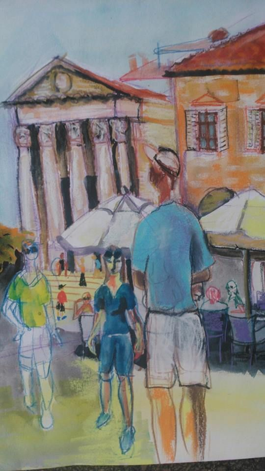 """AQUARELS INSPIRED BY THE CROATIAN SUN present: """"Turists in Pula"""" mixed technique: watercolor, dry pastel, watercolor pencils. Signed by myself. to be sold unframed and unmounted.  ( 42x 30 cm), 50 Euro"""
