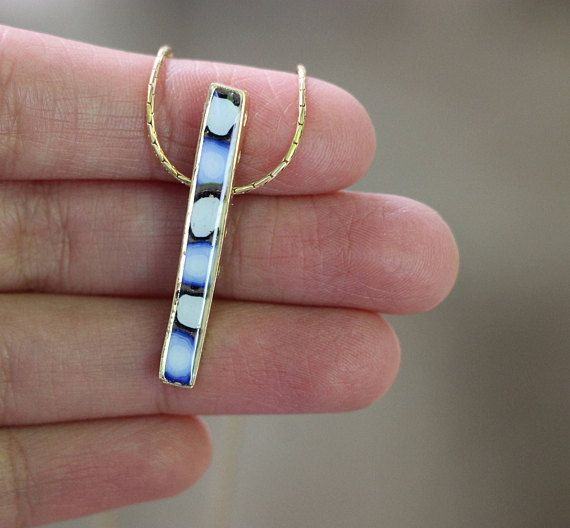 ***NEW*** Double sided single bar necklace! Blue on one side, and multi colored on the other. It is a unique piece of jewelry and a wonderful gift for girlfriend, mother, daughter, for Christmas and any holiday occasion. It is a one of a kind piece! #new #necklaces #jewelry #israel #israelijewelry #etsy #etsyfinds #etsyshop #handmade #blue #gold #fashion #womensfashion #uniquegifts #unique #creative #giftforher