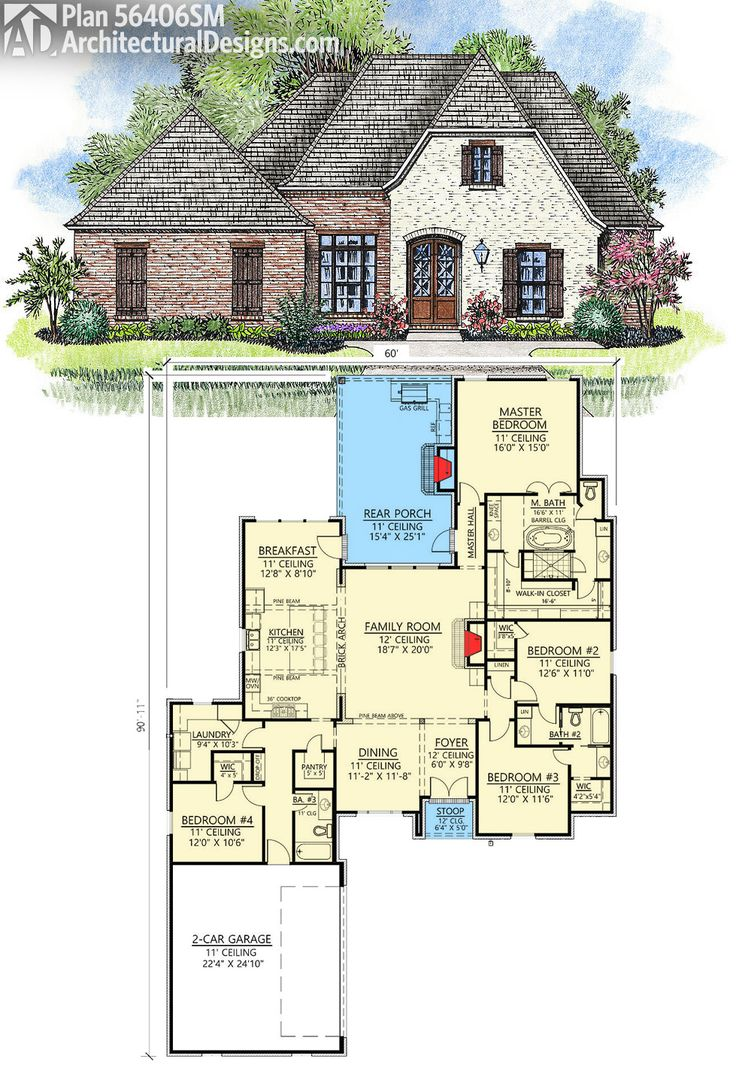 Architectural designs acadian house plan 56406sm gives you 4 beds and over 2600 square feet of