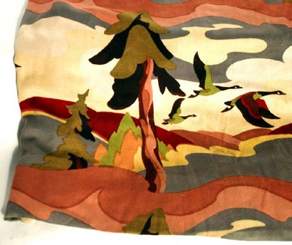 "Alternative colourway of Thor Hansen's ""Sunridge"" (geese in flight) textile pattern.  Via the Canadian Design Resource."