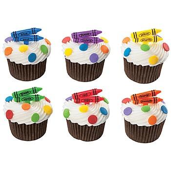 Bilingual Crayon Cake Picks, Cupcake Crayon Picks
