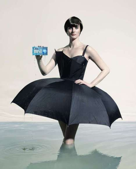 Summer Swerner. Orbit Mist gum campaign. 2009. by Nadav Kander.  The hydrating effects of the gum are portrayed by models standing in an ocean wearing clothing made from unexpected props. The umbrella dress expresses how everyday products can be recycled to create new and unique products. I think that The Orbit campaign demonstrates the ability to recycle every day items such as an umbrella into wearable artistic clothing. The campaign promotes recycling and how it can be creative and…