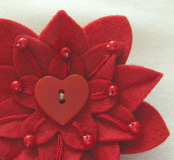 Red on Red Felt Valentine's Pin with Vintage Red Heart Button, Embroidery and Red Czech Glass Beads by Dorothy Designs