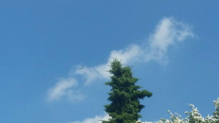 Vliegtuig met mooie lucht
