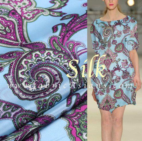 "SALE Fabric - Blue Paisley Silk. Silk Charmeuse. Pure Silk. 11momme. 55"" wide. SSB100663"