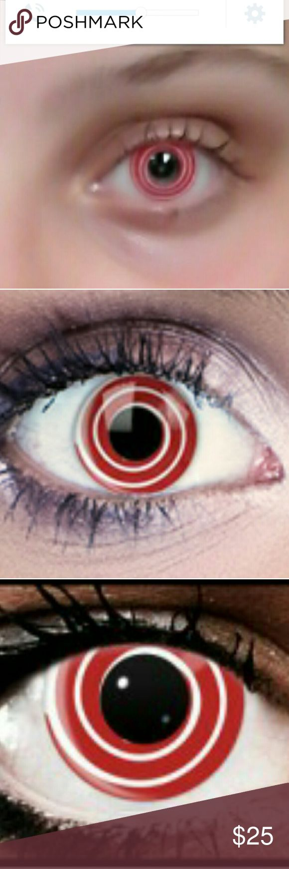 Red and White Spiral Contact lenses Non Prescription just wild red And white colored spiral contact lenses. Zoned out eyes are fun to freak out your friends and perfect for cosplay, Comicon dress up, or Halloween. These are good for one year from when you open your sealed contacts.They will last when properly taken care of.Please let them soak for the first 6 hours before wearing them. Size: 0.00 BC: 8.60  diameter Composition: 40% water Hema:60% Accessories Glasses