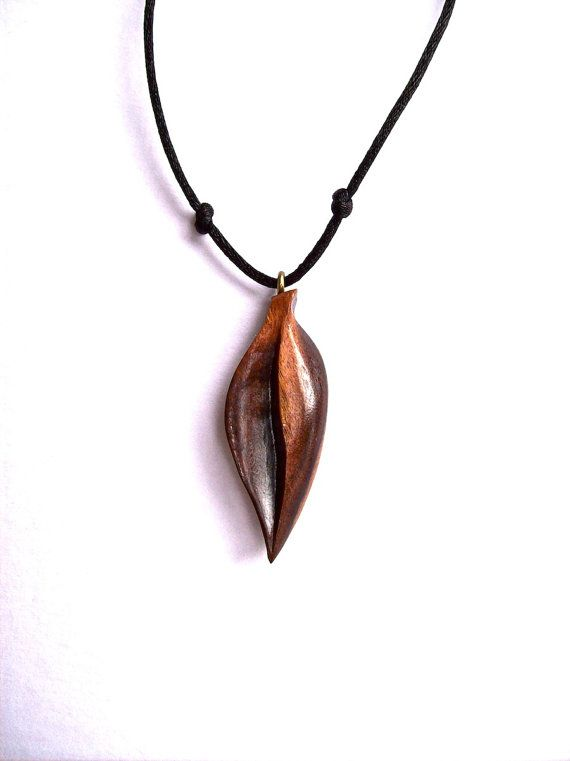 tree pendant carving pin carved leaves wood charm necklace acanthus wooden oak jewelry
