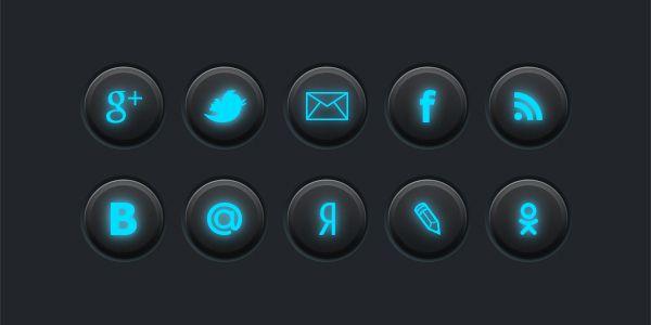 Кнопки социальных сетей с неоновой подсветкой