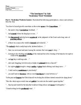 English Example Essay This Worksheet Has  Pages The First One Contains  Vocabulary Words  Quoted In Context From The Story I Read This Page Aloud To The Students Examples Of Thesis Statements For Argumentative Essays also Reflective Essay English Class This Worksheet Has  Pages The First One Contains  Vocabulary  Critical Essay Thesis Statement