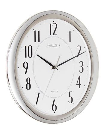 SILVER FINISH OVAL WALL CLOCK WITH SWEEP MOVEMENT