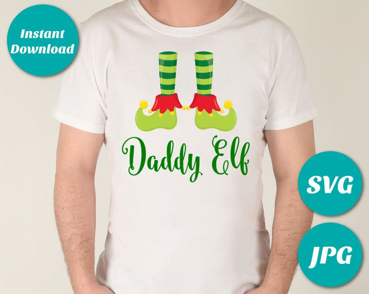 Make your own shirt with the digital Daddy Elf Printable Iron On Transfer or use the SVG file with your Cricut or Silhouette cutting machine. Matching designs for the whole family. Use promo code PINTEREST10 to save 10% off purchase. ETSY