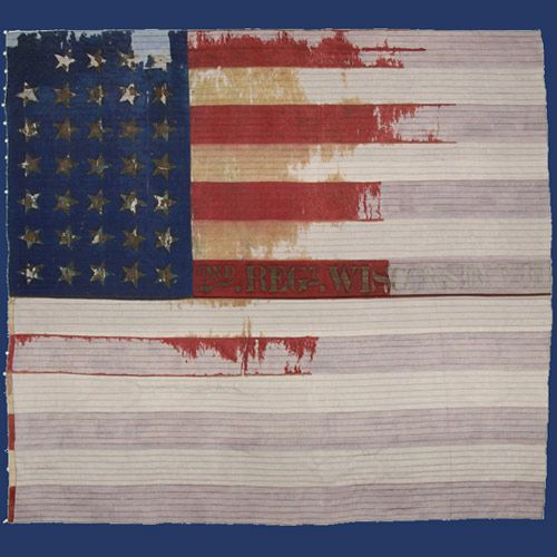 Second Wisconsin Flag. Company F was from Racine Wisconsin.  Fought bravely as a member of the Iron Brigade, consisting of the 2nd, 6th, and 7th Wisconsin, 19th Indiana and th 24th Michigan.