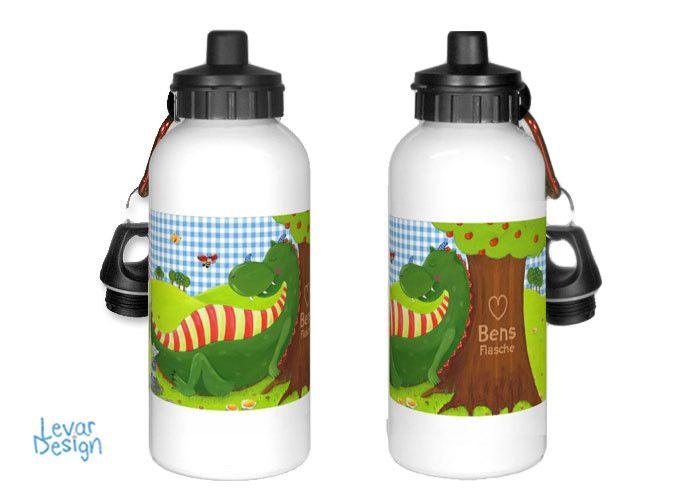 Trinkflaschen - Trinkflasche für Kindergarten - Drache mit Namen - ein Designerstück von LEVARDESIGN bei DaWanda