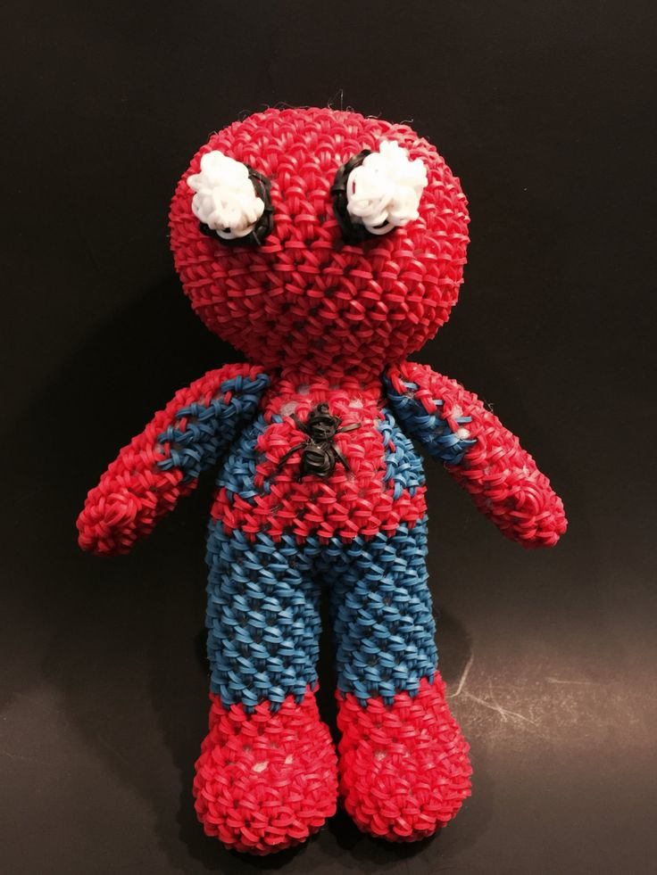 It is a graphic of Clean Rainbow Loom Spiderman Face Coloring