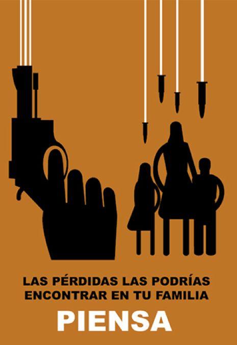"""Poster by Carlos Aponte, """"Piensa"""", Banco Popular Puerto Rico, Social Awareness Campaign, San Juan."""