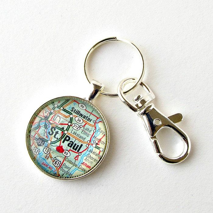 St Paul Minnesota map keychain made from vintage 1978 road map / $20 by salvagedstudiomke on Etsy / pin for later / one of a kind gifts / Saint Paul Map / Minnesota Gifts / Christmas Gift for Brother / stocking stuffer gifts for grownups / Twin Cities Minnesota / gifts under 25 dollars / gifts for teacher / cool gifts for guys / long distance boyfriend gifts