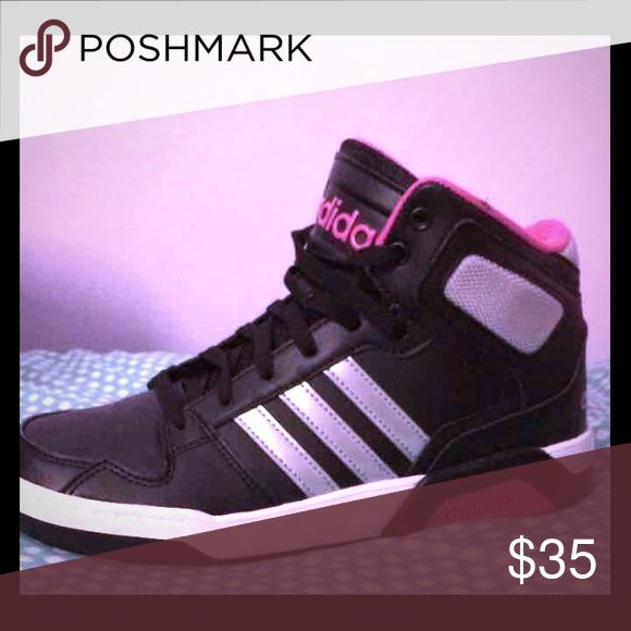 Adidas NEO high tops Worn once. Too big on me and i lost the receipt they are size 6 but they run big so they would fit a 7.5. Im just a 7 Adidas Shoes Sneakers