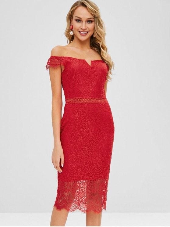 ac669cec206 Off Shoulder Bodycon Lace Dress in 2019