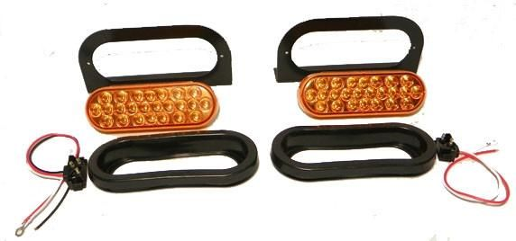 """6"""" Oval Oblong LED Amber Synchronized Strobe Light Kit"""