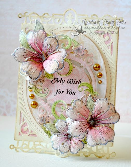 My Wish for You... Filigree card with flowers, Heartfelt Creations