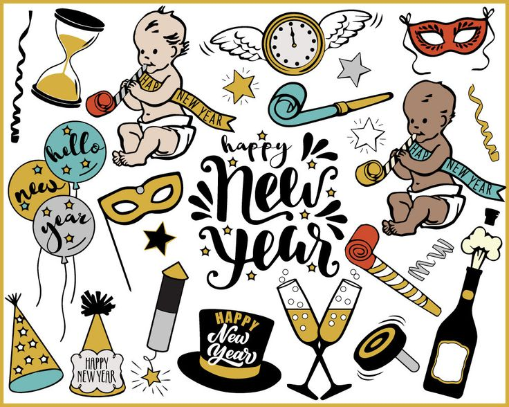 New Year Clipart new year's eve baby new year Etsy New