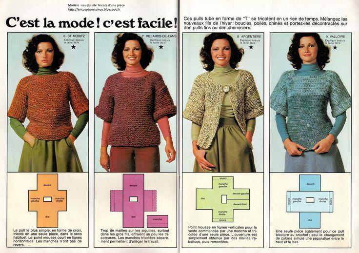 Ce bon vieux pull tube: Variations sur un pull tube Site à visiter pour les tricoteuses en rechercher de simplicité                                                                                                                                                     Plus