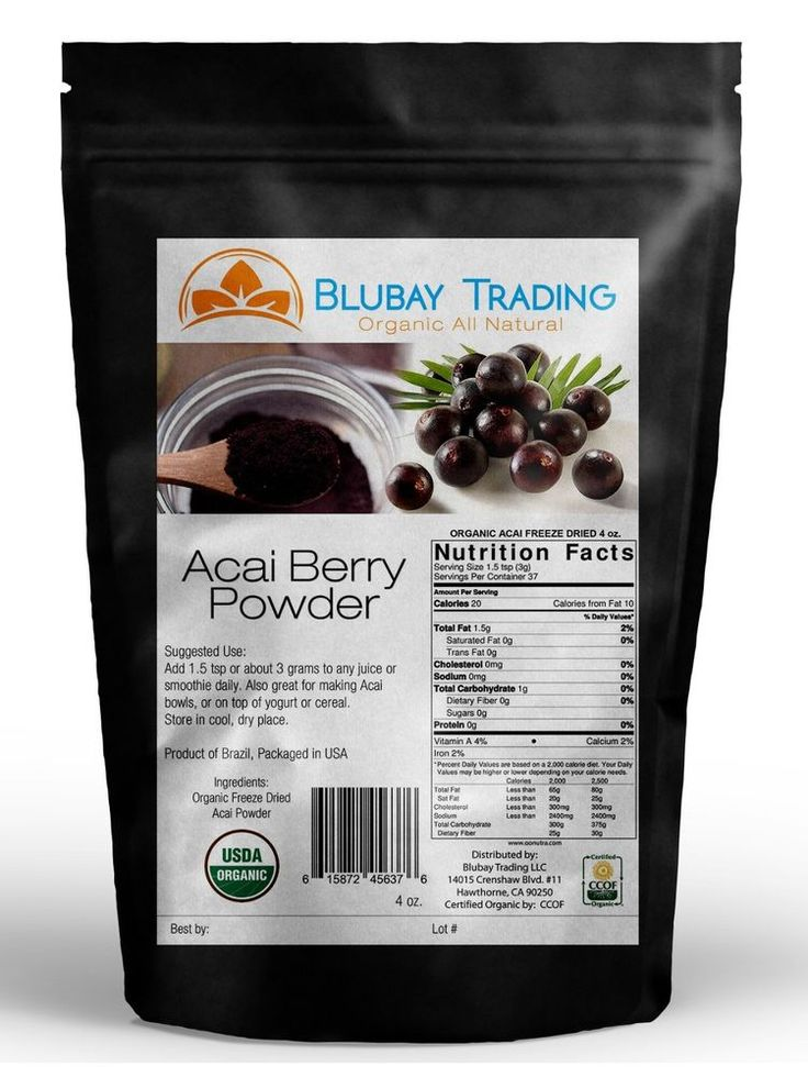 Acai berries contain high levels of the fatty acids, oleic acid and omega-6, as well as fiber and protein.