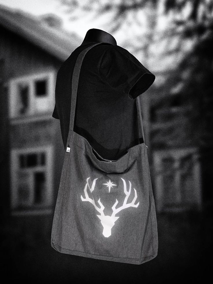 Sling tote bag, print made from reflective material. How cool is that!