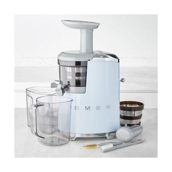 Williams-Sonoma Smeg 50's Style Slow Juicer Pastel (4 905 SEK) ❤ liked on Polyvore featuring home, kitchen & dining, small appliances, citrus squeezer, grape juice extractor, vegetable juicer, grape juicer and fruit juice extractor