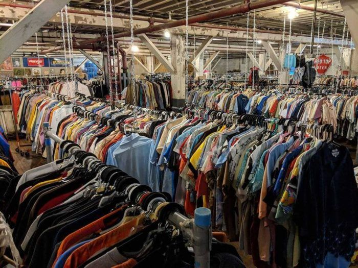 Packed With Vintage Clothing Pixel Base Alpha Warehouse Is A Retro Haven In Cincinnati In 2020 Vintage Outfits Warehouse Vintage Store