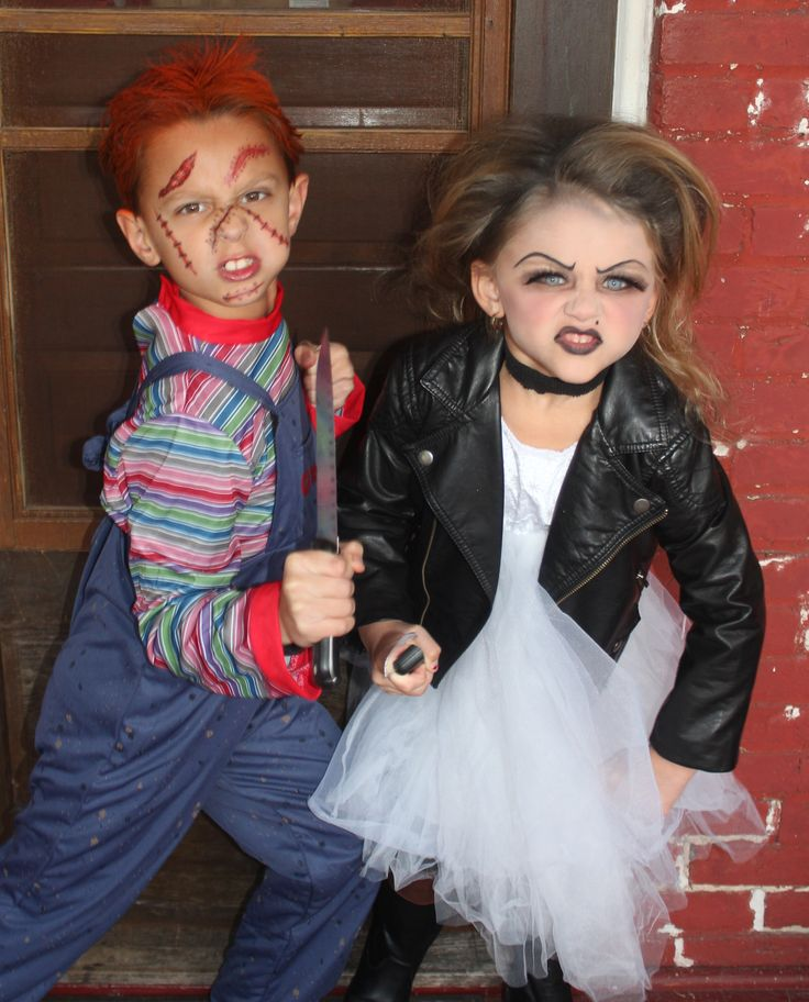Great sibling Halloween costumes.  Chucky and his bride!