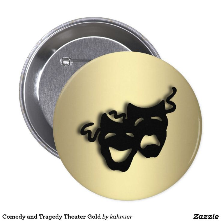 Comedy and Tragedy Theater Gold Button