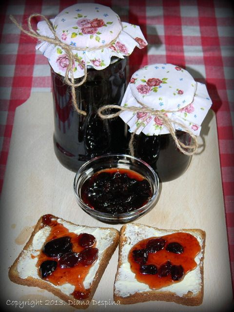 Tasty cherry jam with cinnamon and cardamom