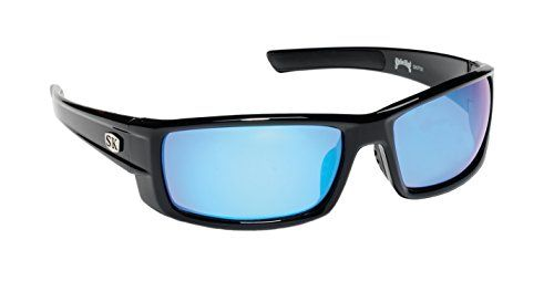 Strike King Plus Sunglasses (Black/ Blue Mirror, Wide Ear Pieces, Adult):   Strike King ski plus sunglasses feature specifically designed tac (tri-acetate cellulose) polarized lenses for unequalled performance. The tac lenses are stable in all weather and humidity conditions and will never compromise in optical quality. The scientifically engineered lens colors will heighten the human eye's ability to clearly distinguish underwater structure and Fish while improving sharpness and contr...