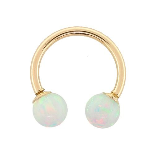 White Opal - Solid 14kt Yellow Gold Circular Barbells in 14G - 18G at FreshTrends.com