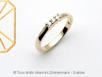 Bague Or Diamants 3 X 3/100 ct